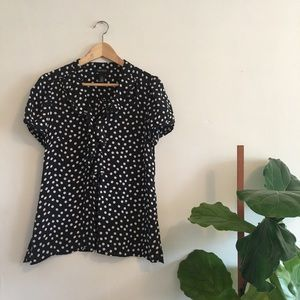 WHITE HOUSE BLACK MARKET Polkadot Ruffle Silk Top